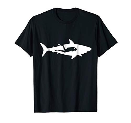 Most Dangerous Sharks - Scuba Diver With Shark T-Shirt Great White Shark Diving Tee