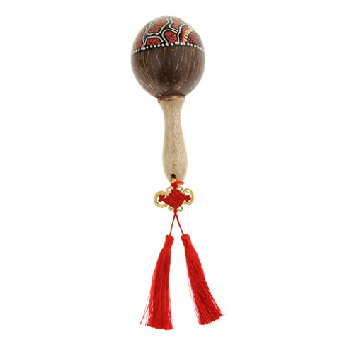 - Flameer Wooden Hand Painted Sand Shaker Hammer Coconut Shell Maraca For Kids