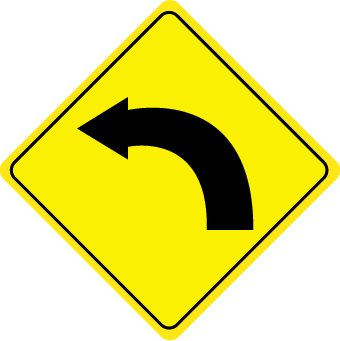 NMC TM123J Traffic Sign Left Curved Arrow Graphic 24quot Length X