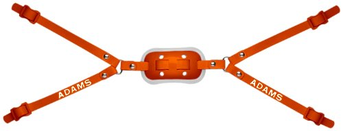 Gel Cup Football Chin Strap - Adams USA 100-4D 4-Point High Hook Up Football Gel Chinstrap, Orange