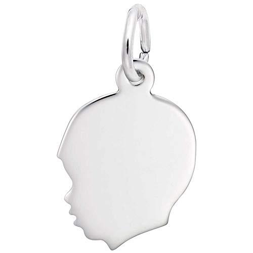 Rhodium Boy Charm - Rembrandt Charms Boy's Head Charm, Sterling Silver