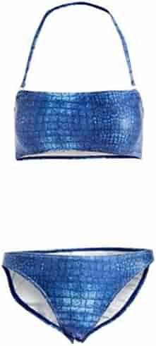 cff231fc2 Deep Blue Missy Blue Crocodile Print Faux Corset Back 2 Pc Swimsuit Juniors  5-13
