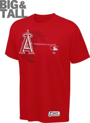 MLB Men's Los Angeles Angels Big and Tall Authentic Collection T-Shirt (Red, 6X-Large)