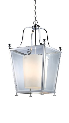 Z-Lite 178-4 Ashbury 4 Light Pendant, Metal Frame, Chrome Finish and Clear Beveled Outside Glass and Matte Opal Inside Glass Shade of Glass Material