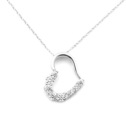 Beauniq 14k White Gold Medium Cubic Zirconia Open Heart Pendant Necklace - ()