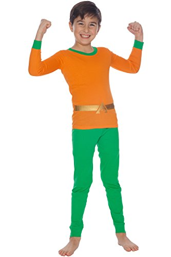 Justice League Boys' Little Aquaman Cotton Costume Pajama Set, Multi, 4