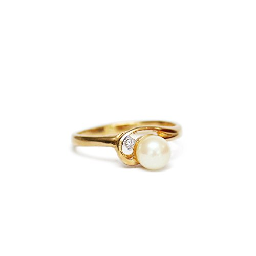 (Providence Vintage Jewelry Cultured Pearl with Clear Swarovski Crystal Accent 18k Yellow Gold Plated)