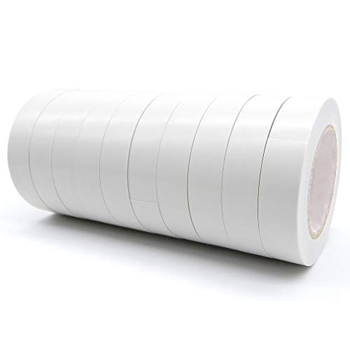 "10 Rolls White PVC Electrical Insulation Tapes-Maveek High End Industrial Grade UL Listed-Rated to 176 Degrees & 600 Volts-Flame Retardant Waterproof Tape Vinyl Insulating Backing-15mmx18m(0.6"" x 50"