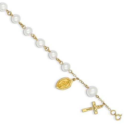 14k Yellow Gold 6.0 6.5mm Freshwater Cultured Pearl Rosary Bracelet 7 Inch Religious Fine Jewelry Gifts For Women For Her ()