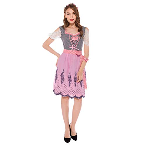 TINGSHOP Beer Girl Fancy Dress Costume, Bavarian Traditional Oktoberfest Dress Pink Festival Party Dress Party, Halloween, Christmas, Carnival Maid Dress,Pink,S
