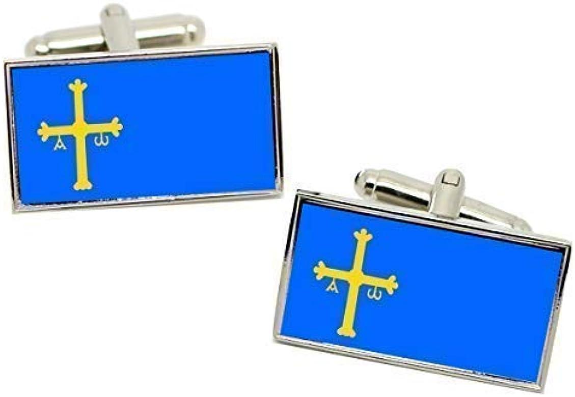 Family Crests Asturias (España) Bandera Gemelos en una Carcasa Cromo: Amazon.es: Joyería