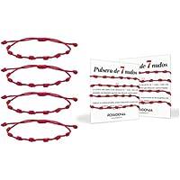 Possidonia Pulsera Roja 7 Nudos | Amuleto Hilo Rojo | Pulsera de la Suerte y Protección | Unisex, Ajustable| Buena…