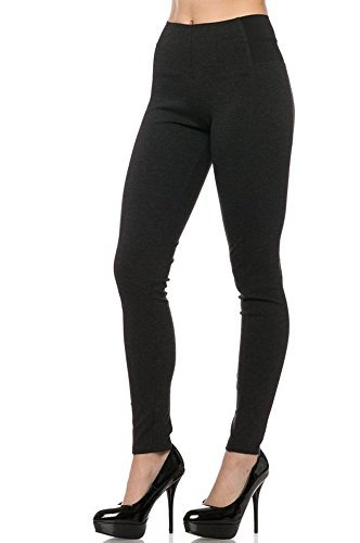 Love Tree Women's Premium High Waist Leggings With Elastic Side Details (Medium, Charcoal)
