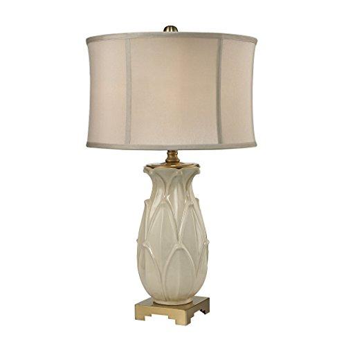 Dimond Lighting  Ceramic Leaf Table Lamp, Cream Crackle/Antique - Center Dimond Stores
