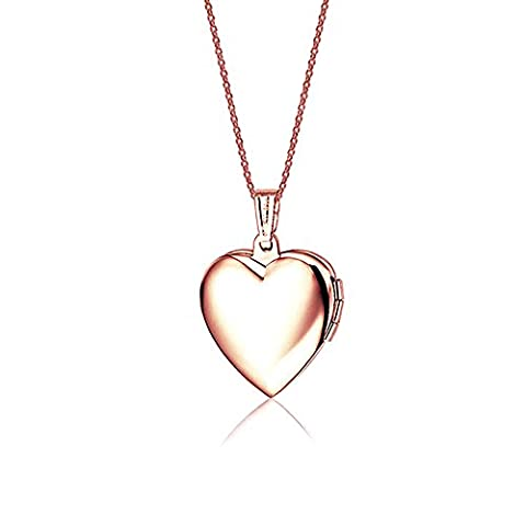 Titanium Steel Heart Shaped Locket Pendant Necklace,17 inches NGG245 (Rose-inner pink) (The Dazzle Picture Frames)