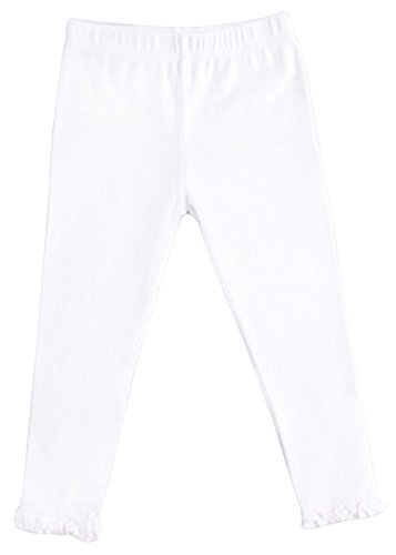 EachWell Cute Spring Gilrs Kids Soft Cotton Stretch Leggings Tight Pants White(US L(6),Asian Tag (Snow White Outfit Ideas)