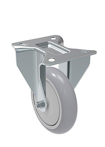 Schioppa-FL-512-SPE-L12-Series-5-x-1-14-Diameter-Rigid-Caster-Non-Marking-Extra-Soft-Thermoplastic-Rubber-Precision-Ball-Bearing-Wheel-Plate-3-18-x-4-18-Bolt-Holes-3-18-x-2-14-250-lb