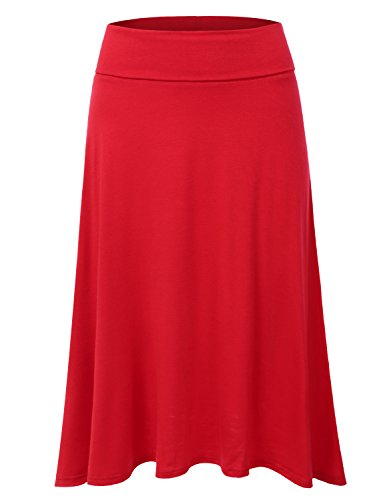 Petite Woven Skirt - DRESSIS Women's Lightweight Knit Elastic Waist Flared Midi Skirt RED S