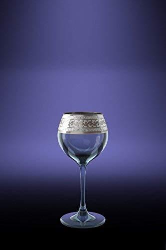 Crystal Goose GX-08-1801, Sherry Liqueur Glasses with Platinum-Plated Rim, Cordial Glasses with Platinum Greek Key Design Sputtering, 6 Piece Set