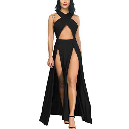 Yyicool Womens Sexy 2 Piece Sleeveless Halter Bandage Crop Top Bodycon Clubwear Party Long Dress (Black2, S)