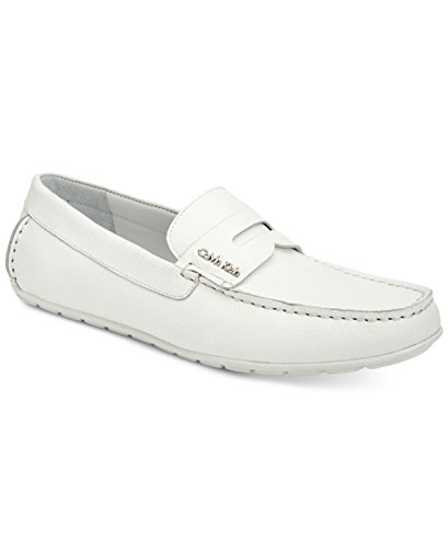 Calvin Klein Men's Shoes Ivan Loafers Tumbled Leather White Slip On F0234 (9) by Calvin Klein
