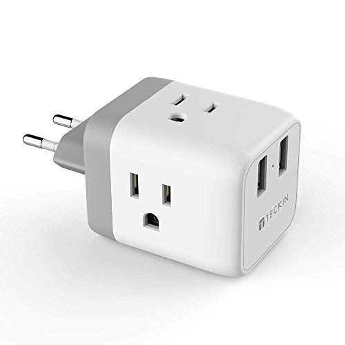 European Adapter,TECKIN European Travel Plug Adapter,3 American Sockets & 2 USB Ports,5 in 1 EU Power Outlet Adaptor,Type C Plug for German,Italy,France,Spain ()