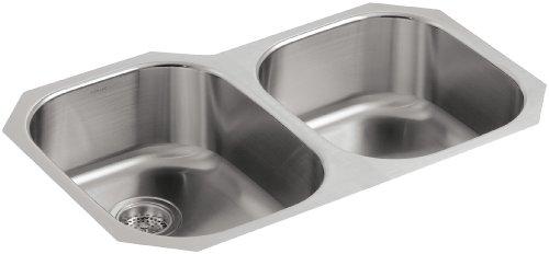 KOHLER K-3354-NA Undertone Large/Medium Undercounter Kitchen Sink, Stainless Steel