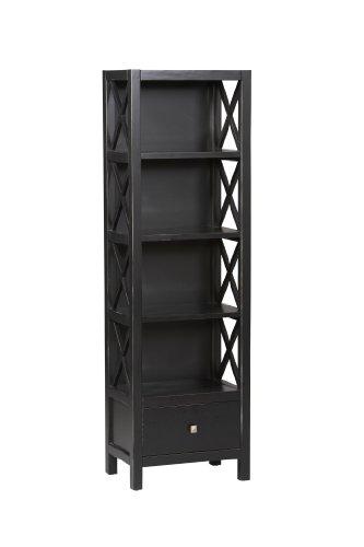 4 Shelf Tall Narrow Bookcase in Antique Black Finish