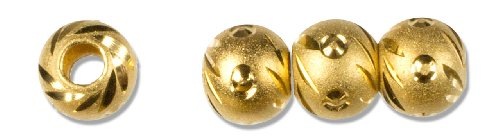Cousin Gold Elegance 14K Gold Plate Carved Bead No.3, (14k Gold Plate Bead)