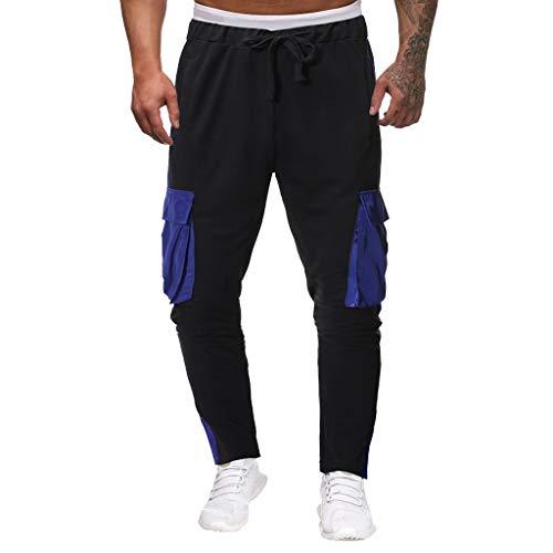 - Lefthigh Men's Pocket Stitching Strap Trousers Sweatpants Casual Pants Nine Pants Black