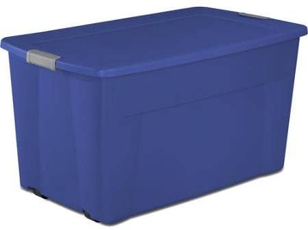 Sterilite 45 Gallon Wheeled Latch Tote- Stadium Blue, Case of four
