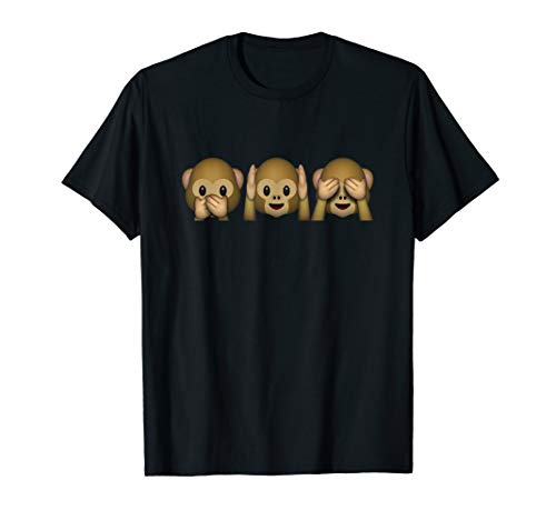 Emojis Speak Hear See No Evil Three 3 Monkeys Emojicons Tee