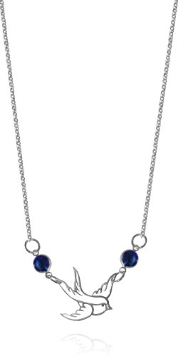 Sterling Silver Free Bird Necklace with Blue Swarovski Crystals, 18 Inch