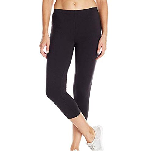 TOTOD Yoga Pants for Women Women's High-Waist Hip Stretch Solid Running Fitness Leggings Crop Skinny Trousers Black