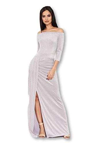 (AX Paris Women's Off The Shoulder Sparkle Maxi Dress(Grey, Size:10))
