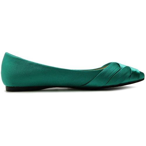 Ollio Kvinners Sko Ballett Veve Spiss Tå Kjole Flat Green