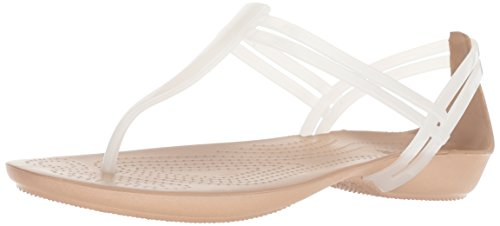 Crocs Women's Isabella T-Strap Flat Sandal, Oyster/Gold, 5 M US