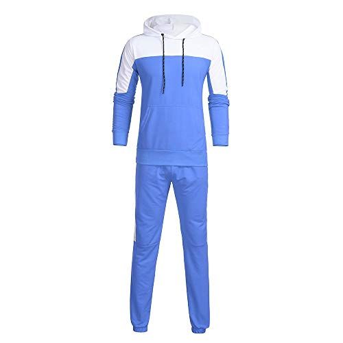 QBQCBB Men's Autumn Sports Suit Patchwork Sweatshirt Stitching Color Tops Pants Sets(Blue,M) -
