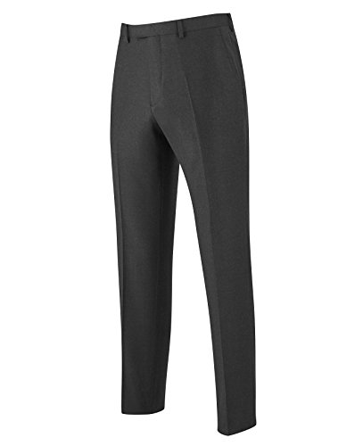 The Savile Row Company Savile Row Men's Grey Luxury Flannel Business Suit Trousers 36'' 32'' by The Savile Row Company