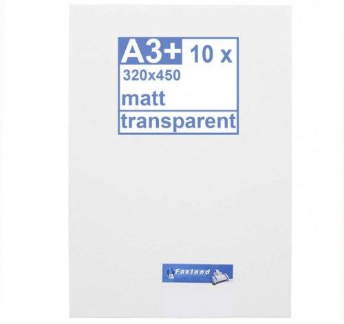 Klebefolie 10 x DIN A3 (450x320) transparent matt - Druckerfolie, klebend, zum bedrucken, Wetterfest, Wasserfest für Laserdrucker, Outdoor B003JPMNGC     | Kunde zuerst