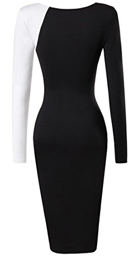 Jeansian Mujer Elegant Short Sleeve Costura Pencil Bodycon Vestido Noche Party fiesta Oficina Lady Slim Dresses WKD290 Black