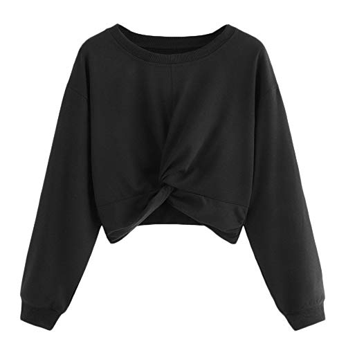 Ameily Womens Cropped Shirt Long Sleeve Twist Solid Color Round Neck Sweatshirt Blouse Tops (Black, M) (Ballet Womens Sweatshirt)