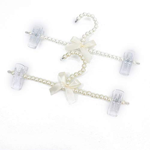 JETEHO 2PCS Pearl Beaded Clothes Hangers with Clips White Bowknot Faux Pearl Bow Pants Trousers Hanger