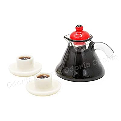 Odoria 1:12 Miniature Coffeepot and Cups Set Dollhouse Kitchen Accessories: Toys & Games