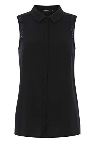 Originals Botones Liso Down Negro Mujer Camisas Con Mangas Button Para Sin Roman fwgRdqR