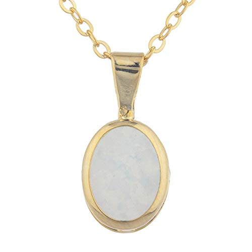 (Genuine Opal Oval Bezel Pendant Necklace 14Kt Yellow Gold Rose Gold Silver)