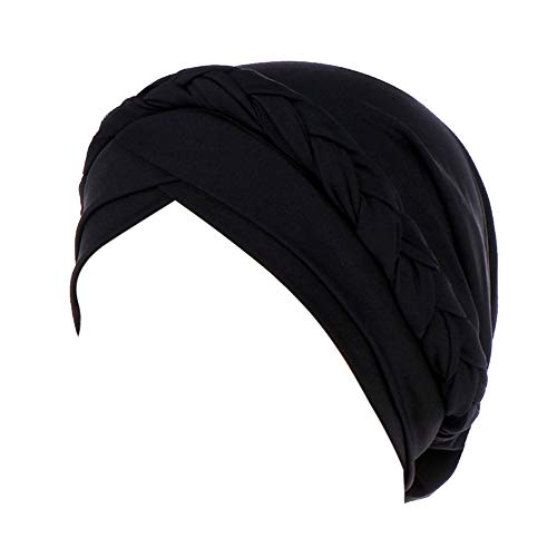 Voberry Womens Swim Cap Bathing Stretch Polyester Turban Head Cover Weaved Pleated Headwrap (Black) by Voberry (Image #1)