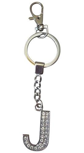 Handbag Charm Key - AM Landen Rhinestone Alphabet Letter J Keychain Key Rings Handbags Purse Charms Gift Key Chain