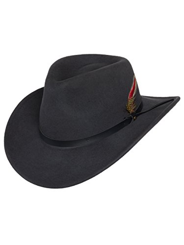 Men's Outback Wool Cowboy Hat Montana Gray Crushable Western Felt by Silver Canyon, Gray, Large