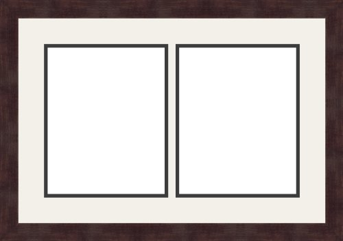 Art to Frames Double-Multimat-604-61/89-FRBW26061 Collage Frame Photo Mat Double Mat with 2-8x10 Openings and Espresso Frame